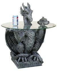 Dragon Side Table with Glass Top