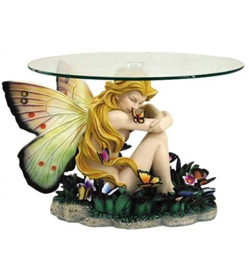 Field of Dreams Fairy Glass Topped Accent Table