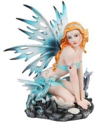 Blue Fairy with Dragonlings Statue
