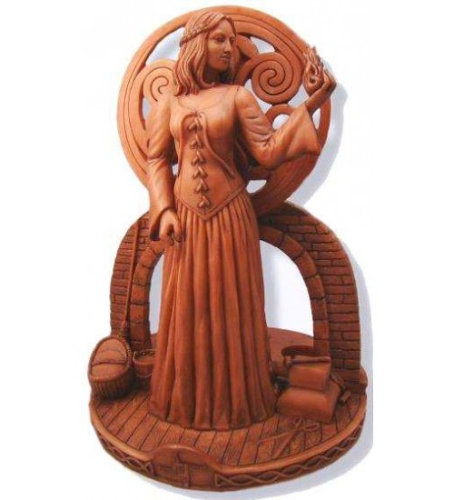 Brigit Goddess of the Hearth Small Candle Holder Statue at All Wicca Store Magickal Supplies, Wiccan Supplies, Wicca Books, Pagan Jewelry, Altar Statues