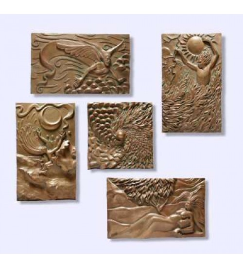 The Five Elements Plaque Set by Ann Zeleny at All Wicca Store Magickal Supplies, Wiccan Supplies, Wicca Books, Pagan Jewelry, Altar Statues