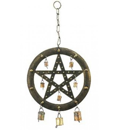 Pentacle Wind Chime with Bells at All Wicca Store Magickal Supplies, Wiccan Supplies, Wicca Books, Pagan Jewelry, Altar Statues