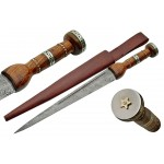 Pentagram Wood Handle Damascus Witches Blade Athame