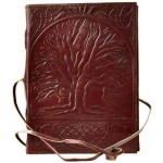 Sacred Oak Tree of Life Leather Journal with Cord