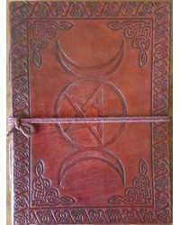 Triple Moon Pentacle Leather 7 Inch Journal All Wicca Magickal Supplies Wiccan Supplies, Wicca Books, Pagan Jewelry, Altar Statues