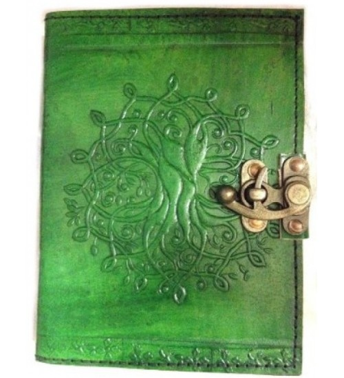 Tree of Life Green Leather Journal with Latch at All Wicca Store Magickal Supplies, Wiccan Supplies, Wicca Books, Pagan Jewelry, Altar Statues