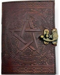 Pentacle Brown Leather Book of Shadows 7 Inch Journal with Latch All Wicca Store Magickal Supplies Wiccan Supplies, Wicca Books, Pagan Jewelry, Altar Statues