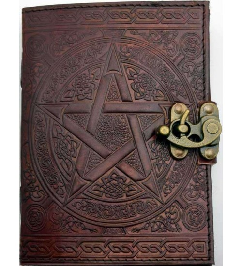 Pentacle Brown Leather Book of Shadows 7 Inch Journal with Latch at All Wicca Store Magickal Supplies, Wiccan Supplies, Wicca Books, Pagan Jewelry, Altar Statues