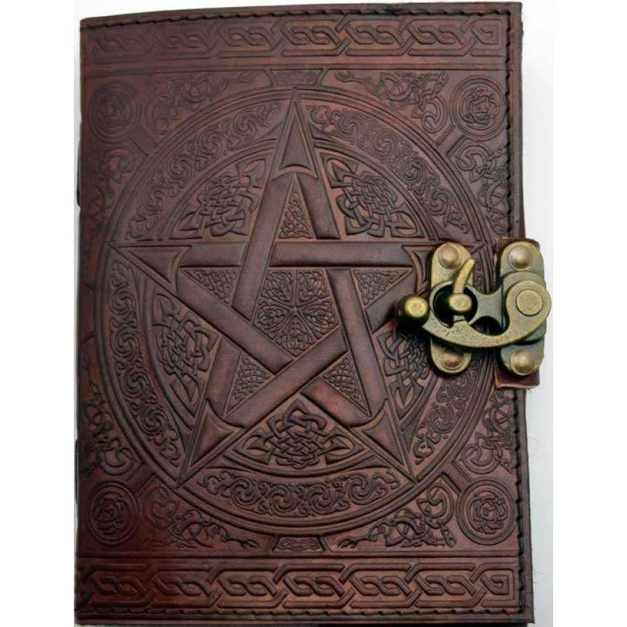 pentacle brown leather 7 inch journal with latch wicca