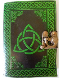 Triquetra Green Leather 7 Inch Journal with Latch All Wicca Store Magickal Supplies Wiccan Supplies, Wicca Books, Pagan Jewelry, Altar Statues