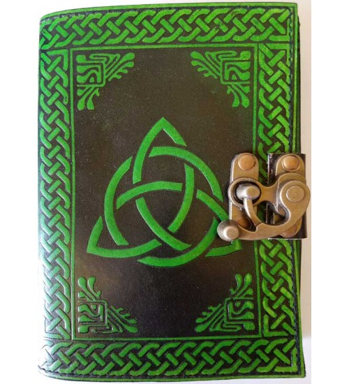 Triquetra Green Leather 7 Inch Journal with Latch at All Wicca Store Magickal Supplies, Wiccan Supplies, Wicca Books, Pagan Jewelry, Altar Statues