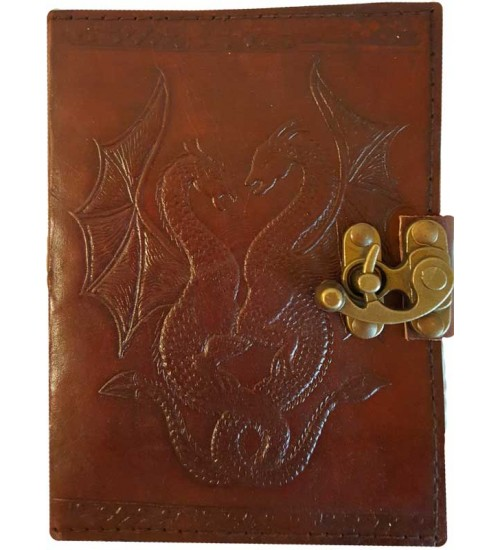 Double Dragon Leather Journal with Latch at All Wicca Store Magickal Supplies, Wiccan Supplies, Wicca Books, Pagan Jewelry, Altar Statues