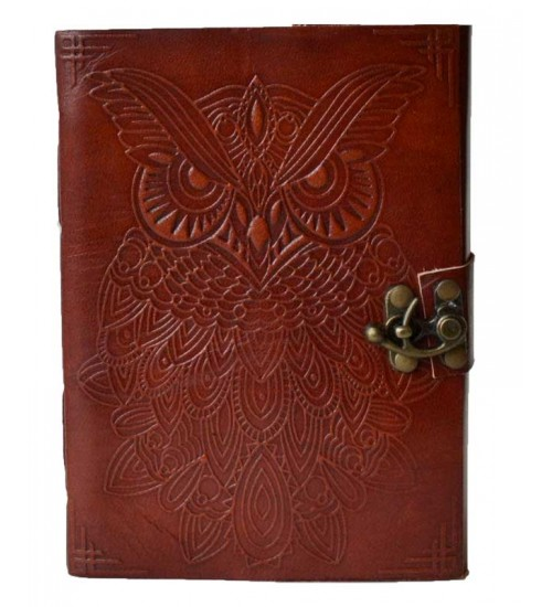 Owl Leather 7 Inch Blank Book with Latch at All Wicca Store Magickal Supplies, Wiccan Supplies, Wicca Books, Pagan Jewelry, Altar Statues