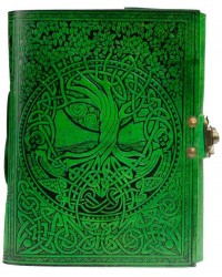 Green Tree of Life River of Knowledge Leather Journal