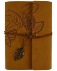 Brown Leaf Leather Ring Binder - 7 1/4 Inches