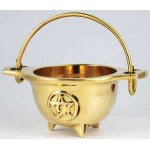 Brass 3 Inch Pentacle Cauldron with Handle