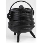 Cast Iron 3 Inch Ribbed Cauldron with Lid