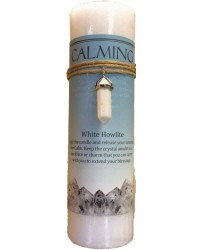 Calming Crystal Energy Candle with Whie Howlite Pendant All Wicca Store Magickal Supplies Wiccan Supplies, Wicca Books, Pagan Jewelry, Altar Statues