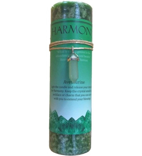 Harmony Crystal Energy Candle with Aventurine Pendant at All Wicca Store Magickal Supplies, Wiccan Supplies, Wicca Books, Pagan Jewelry, Altar Statues
