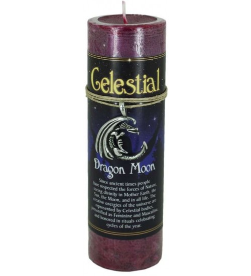 Dragon Moon Celestial Spell Candle with Amulet Pendant at All Wicca Store Magickal Supplies, Wiccan Supplies, Wicca Books, Pagan Jewelry, Altar Statues
