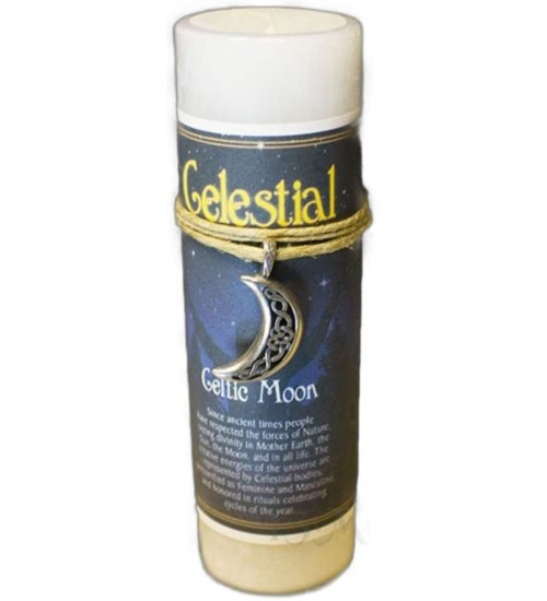 Celtic Moon Celestial Spell Candle with Amulet Pendant at All Wicca Store Magickal Supplies, Wiccan Supplies, Wicca Books, Pagan Jewelry, Altar Statues