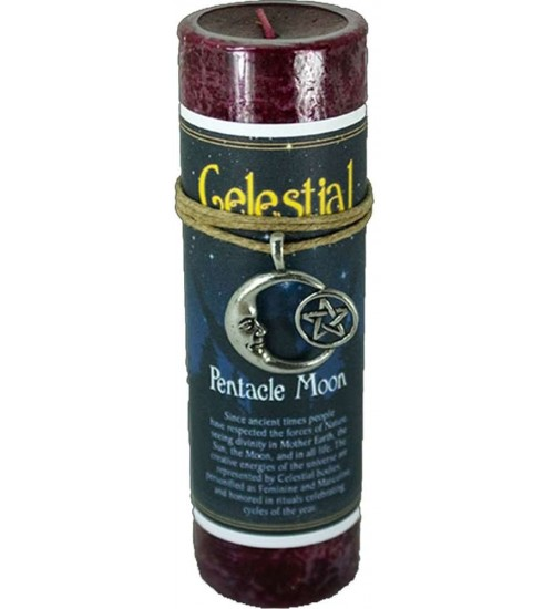 Pentacle Moon Celestial Spell Candle with Amulet Pendant at All Wicca Store Magickal Supplies, Wiccan Supplies, Wicca Books, Pagan Jewelry, Altar Statues