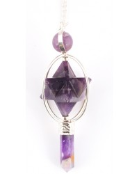 Amethyst Spinning Merkaba Pendulum for Insight