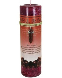 Well Being Crystal Energy Candle with Red Jasper Pendant