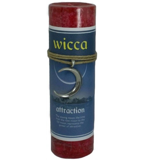 Wicca Attraction Spell Candle with Amulet Pendant at All Wicca Store Magickal Supplies, Wiccan Supplies, Wicca Books, Pagan Jewelry, Altar Statues
