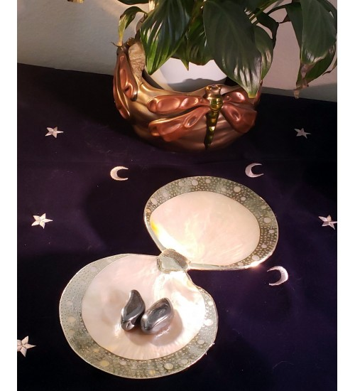 Double Shell Dish with Silver Rims at All Wicca Store Magickal Supplies, Wiccan Supplies, Wicca Books, Pagan Jewelry, Altar Statues