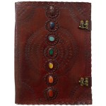7 Chakra Stones Leather Blank Journal - 13 Inches