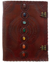 7 Chakra Stones Leather Blank Journal - 13 Inches All Wicca Magickal Supplies Wiccan Supplies, Wicca Books, Pagan Jewelry, Altar Statues