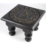 Pentacle Carved Wood Altar Table