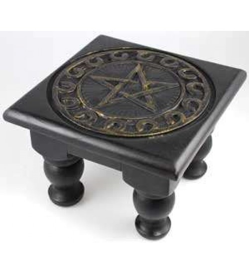 Pentacle Carved Wood Altar Table at All Wicca Store Magickal Supplies, Wiccan Supplies, Wicca Books, Pagan Jewelry, Altar Statues