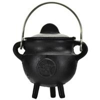 Pentacle Cast Iron Mini Cauldron with Lid