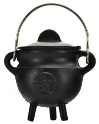 Pentacle Cast Iron Mini Cauldron with Lid