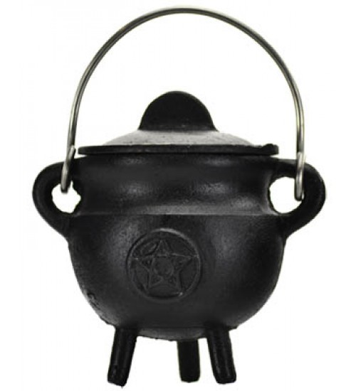 Pentacle Cast Iron Mini Cauldron with Lid at All Wicca Store Magickal Supplies, Wiccan Supplies, Wicca Books, Pagan Jewelry, Altar Statues