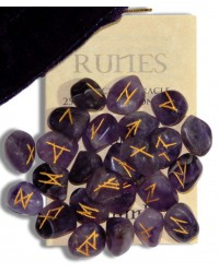 Amethyst Gemstone Rune Set All Wicca Store Magickal Supplies Wiccan Supplies, Wicca Books, Pagan Jewelry, Altar Statues