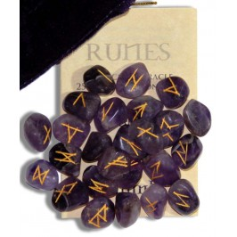 Amethyst Gemstone Rune Set