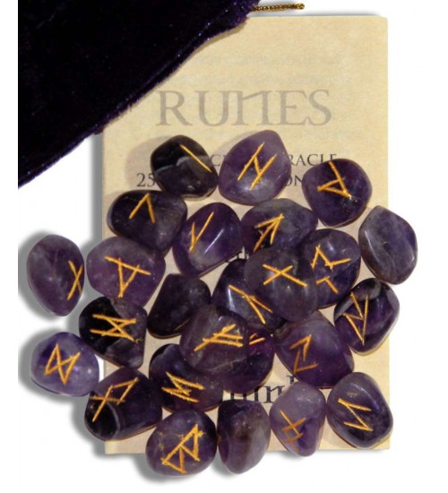 Amethyst Gemstone Rune Set at All Wicca Store Magickal Supplies, Wiccan Supplies, Wicca Books, Pagan Jewelry, Altar Statues