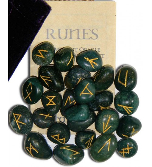 Bloodstone Green Gemston Rune Set at All Wicca Store Magickal Supplies, Wiccan Supplies, Wicca Books, Pagan Jewelry, Altar Statues