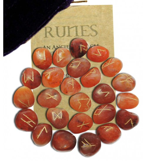 Carnelian Gemstone Rune Set at All Wicca Store Magickal Supplies, Wiccan Supplies, Wicca Books, Pagan Jewelry, Altar Statues