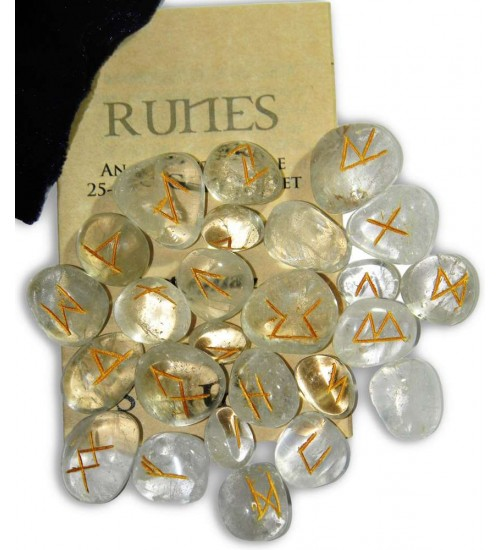 Crystal Quartz Gemstone Runes at All Wicca Store Magickal Supplies, Wiccan Supplies, Wicca Books, Pagan Jewelry, Altar Statues