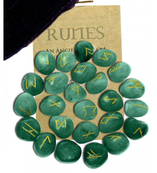 Green Aventurine Rune Set at All Wicca Store Magickal Supplies, Wiccan Supplies, Wicca Books, Pagan Jewelry, Altar Statues