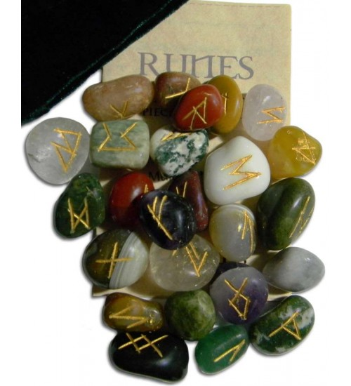 Multi-Stone Agate Gemstone Rune Set at All Wicca Store Magickal Supplies, Wiccan Supplies, Wicca Books, Pagan Jewelry, Altar Statues