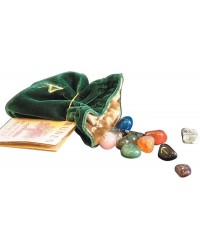Gemstone Rune Stone Set with Embroidered Bag