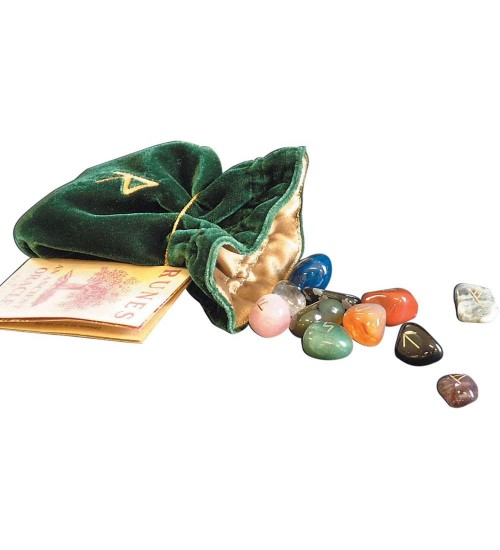 Gemstone Rune Stone Set with Embroidered Bag at All Wicca Store Magickal Supplies, Wiccan Supplies, Wicca Books, Pagan Jewelry, Altar Statues