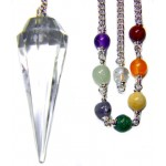 Clear Quartz Crystal Chakra Scrying Pendulum