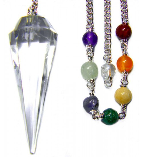Clear Quartz Crystal Chakra Scrying Pendulum at All Wicca Store Magickal Supplies, Wiccan Supplies, Wicca Books, Pagan Jewelry, Altar Statues