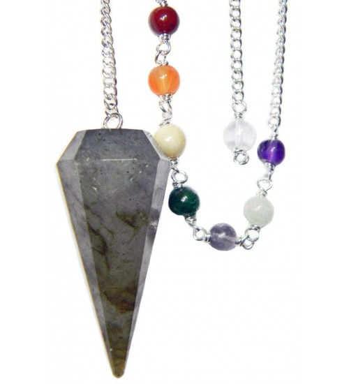 Labradorite and Chakra Scrying Pendulum at All Wicca Store Magickal Supplies, Wiccan Supplies, Wicca Books, Pagan Jewelry, Altar Statues